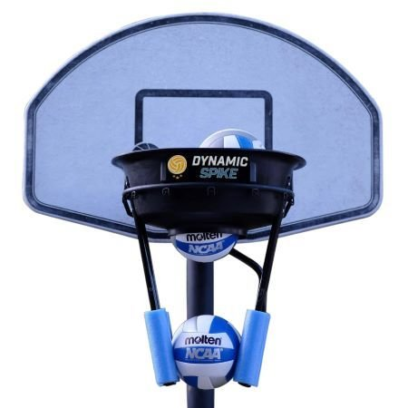 The DynamicSpike Volleyball hitting trainer with blue foam arms