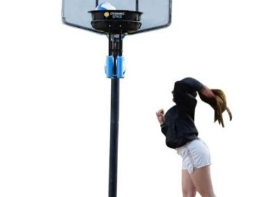 Girl practices volleyball spiking with the DynamicSpike Volleyball hitting trainer