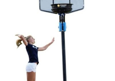 Girl practices hitting with the DynamicSpike Volleyball hitting trainer