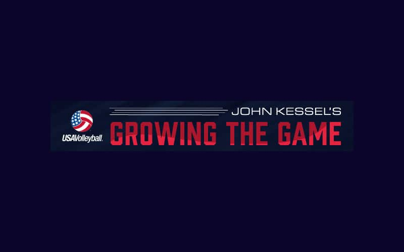 """Logo for John Kessel's """"Growing the Game"""" series of volleyball tips"""