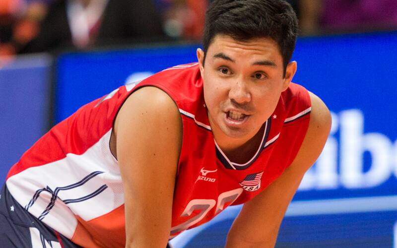 Close-up of male volleyball player ready for action