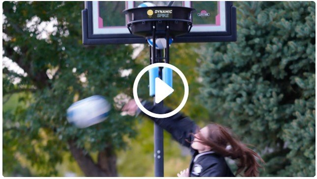 Girl trains with the DynamicSpike Volleyball Hitting Trainer